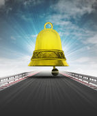 Race track way bell alarm announce to last lap with sky flare — 图库照片