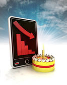 Descending negative graph stats with cake on phone display with sky — Stockfoto