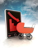 Descending graph negative stats with baby carriage on phone display with sky — Stock Photo