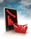 Descending graph negative stats in trade on phone display with sky — Stock Photo