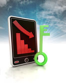 Descending negative graph with green key on phone display with sky — Stock Photo