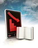 Descending graph of negative knowledge stats on phone display with sky — Stock Photo