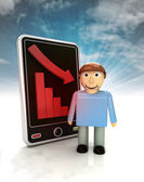 Descending graph of man stats on phone display with sky — Стоковое фото