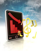 Descending graph of music stats on phone display with sky — Stock Photo