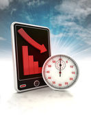 Descending graph time depending stats on phone display with sky — Stockfoto