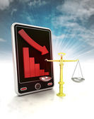 Descending graph in fair trade stats on phone display with sky — Stok fotoğraf