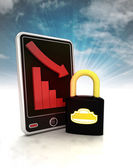 Descending graph in security stats on phone display with sky — Stock Photo