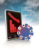 Descending graph of bet games on phone display with sky — Stock Photo