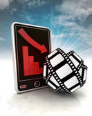Descending graph of cinematography production on phone display with sky — Stock Photo