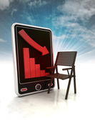 Descending graph of furniture production on phone display with sky — Stock Photo