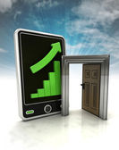 Increasing graph stats with open door to success on phone display with sky — Stockfoto