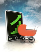 Increasing graph stats with baby carriage on phone display with sky illustration — Stock Photo