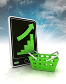 Increasing graph stats with trade manual cart on phone display with sky — Stock Photo