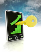 Increasing graph stats with key to business on phone display with sky — Stock Photo