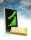 Increasing graph stats of gold trade business on phone display with sky — Stock Photo