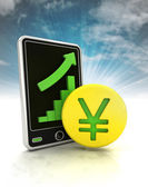 Increasing graph stats of yuan currency business on phone display with sky — Stock Photo