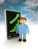 Estatísticas de gráfico crescente de informações homem telefone exibir com céu — Fotografia Stock