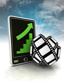 Increasing graph stats of cinematography on phone display with sky — Stock Photo