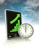 Increasing graph stats of in time production on phone display with sky — Stock Photo
