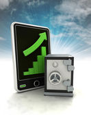 Increasing graph stats with bank vault on phone display with sky — Stock Photo