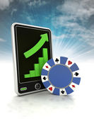 Increasing graph of bet game industry on phone display with sky — Stock Photo