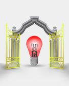 Golden gate entrance with red warning bulb vector — ストックベクタ