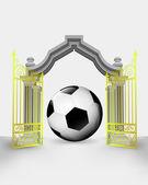 Golden gate entrance with soccer ball vector — Stock Vector