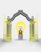 Golden gate entrance with yellow shiny bulb vector — Vector de stock