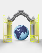 Golden gate entrance with Africa earth globe vector — Vector de stock