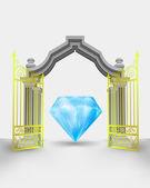 Golden gate-eingang mit großen diamanten geschenk vektor — Stockvektor