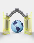 Golden gate entrance with America earth globe vector — Vector de stock