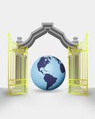 Golden gate entrance with America earth globe vector — Stock Vector