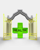 Golden gate entrance with health cross vector — Vettoriale Stock