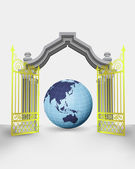 Golden gate entrance with Asia earth globe vector — Vettoriale Stock