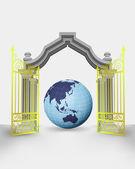 Golden gate entrance with Asia earth globe vector — Stock Vector