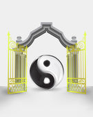 Golden gate entrance with yin and yang harmony vector — Vetorial Stock