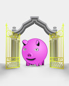 Golden gate entrance with happy pig vector — Stock Vector