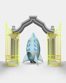 Golden gate entrance with space rocket vector — Stock Vector