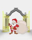 Golden gate entrance with Santa Claus with bag vector — Stock Vector