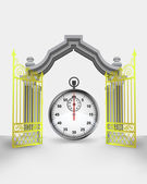 Golden gate entrance with stopwatch count vector — Vector de stock