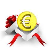 Enveloppé de ruban rouge boîte avec pièce de monnaie euro or à l'intérieur de vecteur — Vecteur
