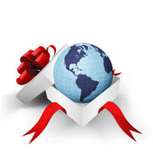 Enveloppé de ruban rouge boîte avec globe terrestre américaine à l'intérieur de vecteur — Vecteur