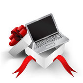 Red ribbon wrapped box with opened laptop inside vector — Stockvector