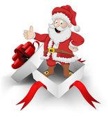 Enveloppé de ruban rouge boîte heureux père Noël à l'intérieur de vecteur — Vecteur