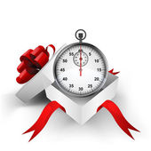 Red ribbon wrapped box with stopwatch count inside vector — Vector de stock