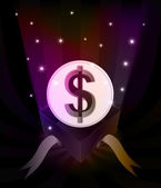 Gift revelation with Dollar coin at glittering stars vector — 图库矢量图片
