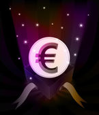 Gift revelation with Euro coin at glittering stars vector — 图库矢量图片