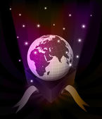 Gift revelation with Africa globe at glittering stars vector — 图库矢量图片