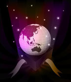 Gift revelation with Asia globe at glittering stars vector — 图库矢量图片
