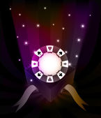 Gift revelation with poker chip at glittering stars vector — 图库矢量图片